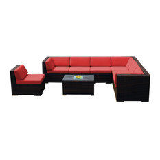 Ohana 8-Piece Mixed Brown Deep Seating Sectional Set, Sunbrella Jockey Red