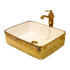 Trieste Mosaic Gold Rectangular Luxurious Bathroom Sink