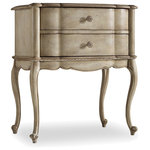 Hooker Furniture - Sanctuary Two Drawer Leg Nightstand-Pearl Essence - Charm your bedroom design with the chic Sanctuary Two 2-Drawer Nightstand. This bedside piece fuses fashion with function, boasting elegant curves, a creamy wood finish and an antique mirrored top, as well as two spacious drawers to store a medley of belongings. The Sanctuary Two pairs flawlessly with your traditional, Shabby Chic or country-inspired space.