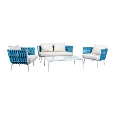 LeisureMod Spencer 4 Piece Outdoor Patio Rope Sofa Conversion Set, Blue