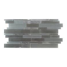 "12.63""x23.63"" Studio 8 Linear Mix Mosaic Tiles, Set of 4, Charcoal Gray"