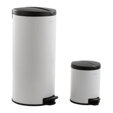 Happimess Oscar 30L and 5L Step-Open Trash Cans, 2-Piece Set, White
