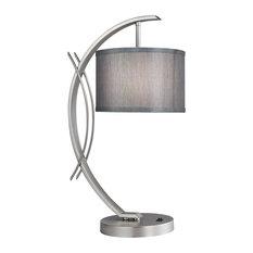 Woodbridge Lighting Eclipse Drum Shade Table Lamp, Gray, Satin Nickel