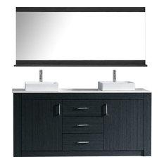 virtu usa tavian 60 double bathroom vanity set gray stone countertop - Small Modern Bathroom Vanities