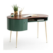 Mid Century Green Curved Office Desk Computer Desk with Shelves & Storage Gold