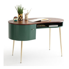 Mid Century Curved Office Desk Computer Desk with Shelves & Storage Gold Legs