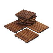 "12""x12"" EZ-Floor Interlocking Tiles, Solid Teak Wood Oiled Finish, Set of 10"