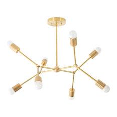 Modern Geometric 8-Bulb Brass Chandelier