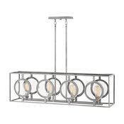 Hinkley Fulham Chandelier 4-Light Linear, Polished Antique Nickel