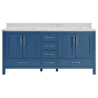 """Kendall Blue Bathroom Vanity, 72"""", Vanity With Carrara Marble Top"""