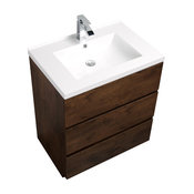 "Alma-Edison 30"" to 34""  White Freestanding Vanity with One Sink, Brown, 30"""