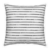 Stripes Monochrome Minimalistic Ink Black And Throw Pillow Organic Sateen