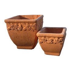 Hand Pressed Ancient Stressed Terracotta Square Flower Pot, Set of 2