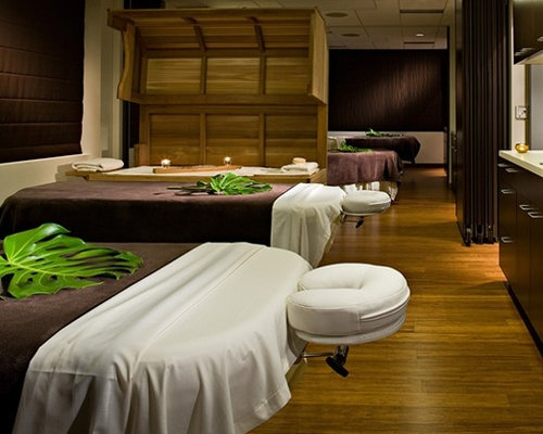 Massage therapy room houzz for Spa treatment room interior design