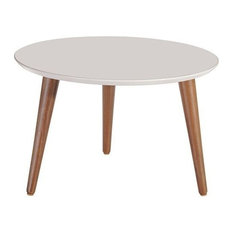 """Manhattan Comfort Moore 23.62"""" Round Mid-High Coffee Table in Off White"""