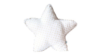 White and Camel Double-Sided Twinkle Star Cushion, Large