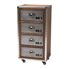 Naomi French Industrial 4-Drawer Rolling Accent Chest
