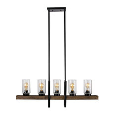 Metal Wood And Glass Chandelier Vintage Style 5 Lights Kitchen Island Light