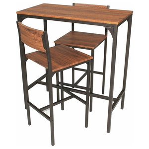 Contemporary Bar Set, Metal and Brown Finished Wood With Table and 2-Stool