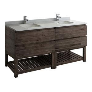 """Formosa 70"""" Floor Standing Open Bottom Double Sink Modern Bathroom Cabinet"""