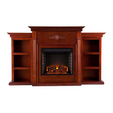Canterbury Electric Fireplace With Bookcases, Classic Mahogany