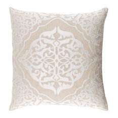 "Aleshia Medallions and Damask Poly Filled Accent Pillow Khaki 18""x18""x4"""