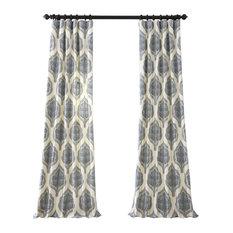 "Arabesque Blue Printed Cotton Twill Curtain Single Panel, 50""x120"""