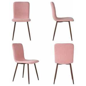 Contemporary Set of 4 Chairs, Metal Legs and Fabric Cushioned Seat, Pink