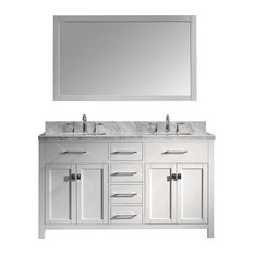 "Virtu Usa Inc. - Virtu Caroline 60"" Double Bathroom Vanity, White With Marble Top, With Mirror - Bathroom Vanities and Sink Consoles"