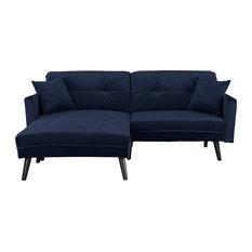 Superbe Sofamania   Mid Century Modern Brush Microfiber Sleeper Sofa Bed, Navy   Sleeper  Sofas