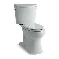 Kohler Kelston 2-Piece Elongated 1.28 GPF Toilet w/ Left-Hand Lever, Ice Grey