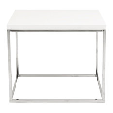 Euro Style   Teresa Side Table, White Lacquer/Polished Stainless Steel    Side Tables