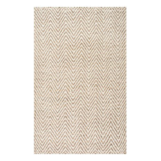nuLOOM - Handwoven Natural Fibers Jute Jagged Chevron Rug, Bleached, 5'x8' - Area Rugs