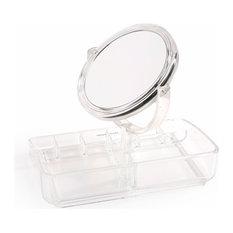Acrylic Jewelry Organizer With Adjustable Mirror, Clear