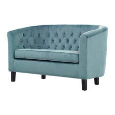 Modern Contemporary Urban Living Loveseat Sofa Velvet Blue
