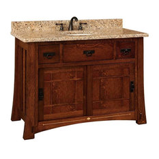 Morgan Bathroom Vanity, Quarter Sawn White Oak, Asbury, Wood Door