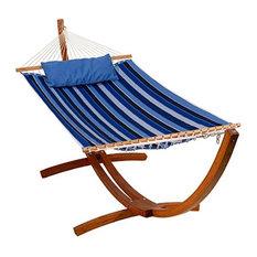 13' Reversible Sunbrella Quilted Hammock Milano Cobalt Stripe/Canvas Capri Solid