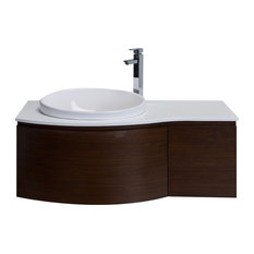 Curvy Wall Mount Bathroom Vanity With Glass Counter Top and Sink, Iron Wood
