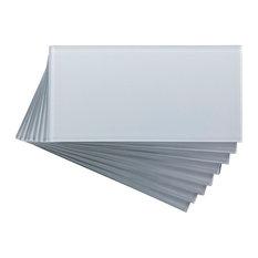 "3""x6"" Aspect Peel and Stick Glass Backsplash Tile, Set of 8, Frost"