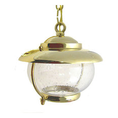 Garden / Bubble Glass Pendant (Solid Brass / Indoor / Outdoor), Polished Unlacqu