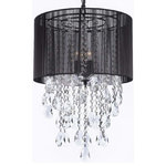 """Gallery - Swarovski Crystal Trimmed Chandelier With Large Black Shade! 24""""x15"""" - This beautiful Chandelier is trimmed with SPECTRA(tm) CRYSTAL  Reliable crystal quality by Swarovski!"""