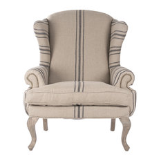 Zacharie Club Chair - English Khaki Linen With Blue Stripe