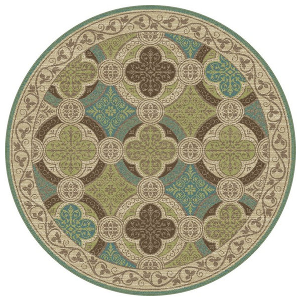 Laila transitional moroccan tile beige round area rug 5 for Home design 9358
