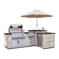 """Fire Magic """"L""""Outdoor Kitchen Island Silver Pine - ISLAND ONLY, Double Drawers"""