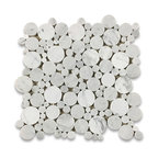 "12""x12"" Carrara White Bubble Round Paramount Mosaic Tile Polished"