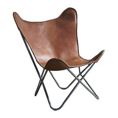 TEXANDECOR   Genuine Leather Butterfly Chair Accent Seat Folding Lounge  Modern Sling Brown   Armchairs And