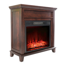 """27"""" Electric Fireplace Freestanding Brown Wooden Mantel Firebox 3D Flame With Lo"""