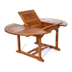 6' Teak Patio Oval Extension Table, With Foldable Butterfly Leaf