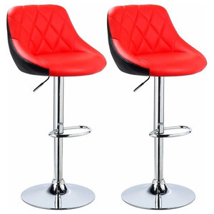 Set of 2 Bar Stools Upholstered, Faux Leather, Adjustable Height, Red