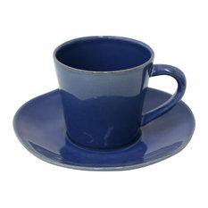 Nova Tea Cups and Saucers, Denim Blue, Set of 6